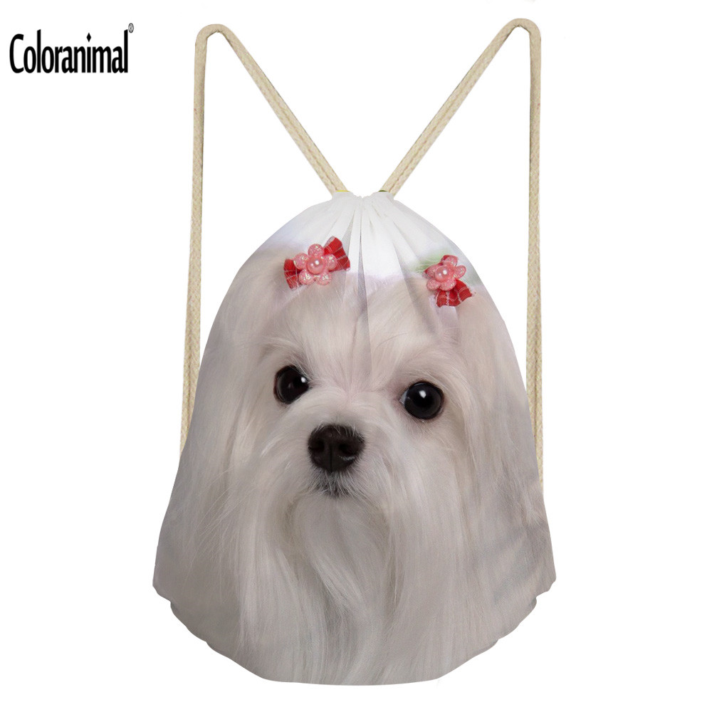 Coloranimal Snow White 3D Cute Maltese Animal Dog Print Drawstring Bag Women Softback Backpack Storage Bags Boys Girl School Bag