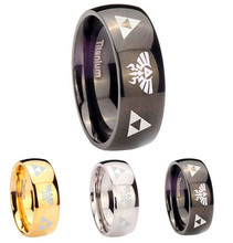 The Legend of Zelda Triforce Logo Symbol 8MM Titanium Steel Ring Rings Accessory
