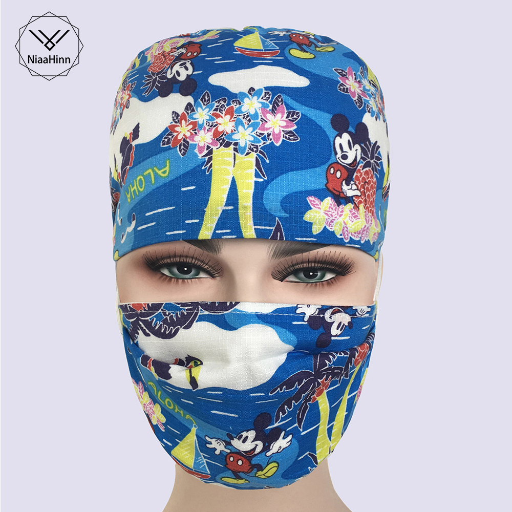 Medical Scrubs Caps Masks Blue Cartoon Mickey Printed Hospital Surgical Clinic Caps Elastic Bands Nursing Accessories Hats Mask