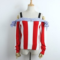 Women's Sweaters 2019 Spring Slash neck Knit Pullovers Strapless Sweater Red white Striped sueter mujer off shoulder sweater