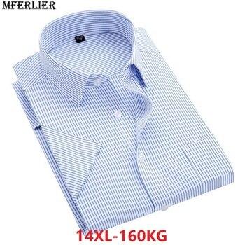 Yaz erkekler artı büyük boyutu 14XL çizgili gömlek iş Iş kısa kollu büyük 7XL 8XL Elbise gömlek 9XL 10XL 11XL 12XL 13XL gömlek
