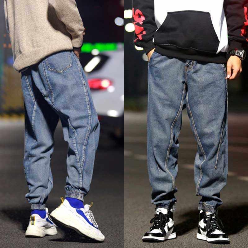 حجم فضفاض الحريم الجينز الرجال المألوف مرونة أقدام أسفل ركض خليط الدنيم السراويل الرجعية الأزرق السراويل العصرية رجل الملابس