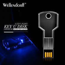 Creative crystal LED usb key 128gb 64gb pen drive usb flash drive 32gb 16gb 8gb 4gb pendrive flash usb memory stick disk on key
