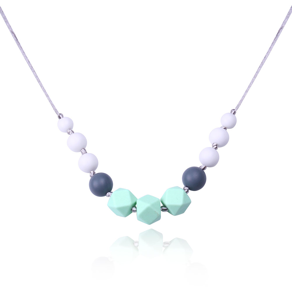 Prism Silicone Beads Teething Necklace Environmental Candy Round Plastic Food Teether Long Necklace Statement Nursing Necklace