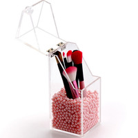 Plastic Crystal Acrylic Makeup Brush Cosmetic Storage Box Makeup Tool Flashing Pencil Holder Lipstick Organizer Cosmetic
