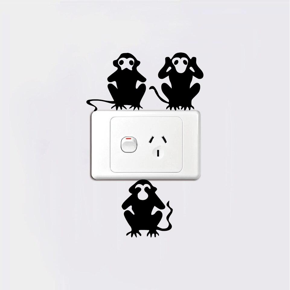 3 Monos Sabios Tatuajes ⓪3 monos interruptor pegatinas-tres monos sabios de la