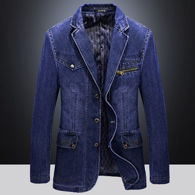 2020 Men's Autumn New Casual Suit Three-button Slim Denim Suit