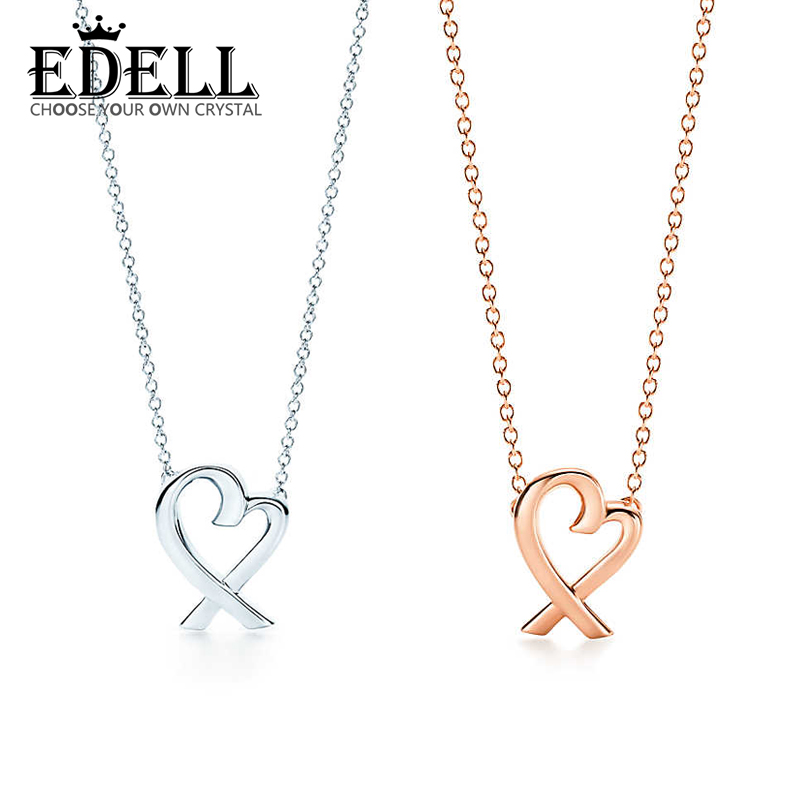 EDELL Heart Necklace Heart-Shaped Pendant s925 Sterling Silver Pendant Necklace Nature Fashion Joker Jewelry Package Mail