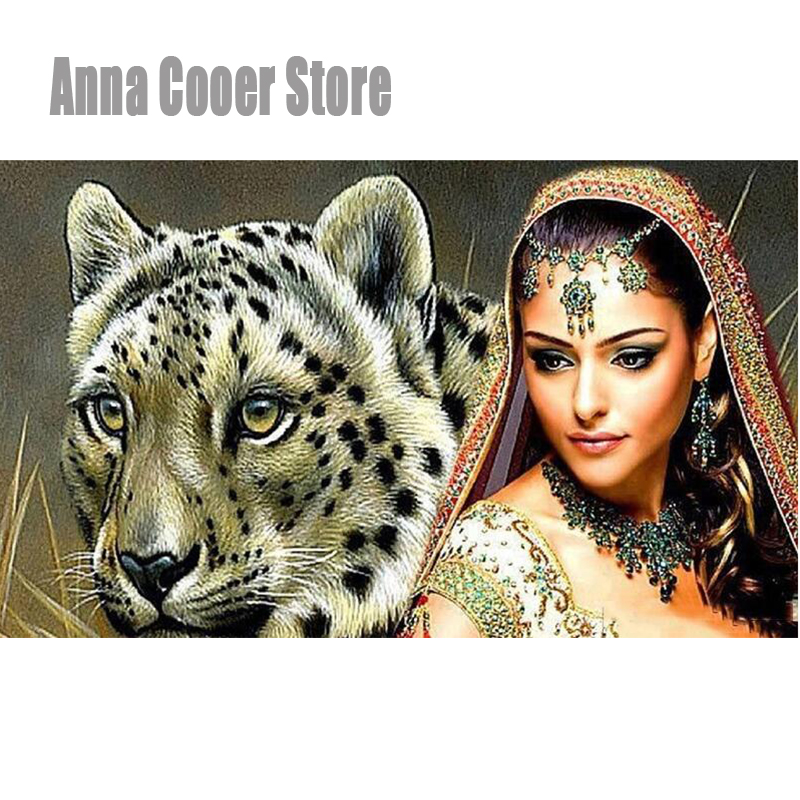 Full Square/Round Drill 5D DIY Diamond Painting Leopard & Beauty Embroidery Cross Stitch Mosaic Home Decor Gift