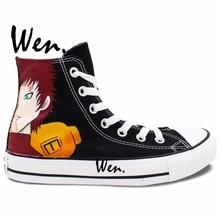 Wen Anime Casual Shoes Hand Painted Custom Design Uzumaki Naruto Gaara Black High Top Canvas Shoes for Men Women's Gifts