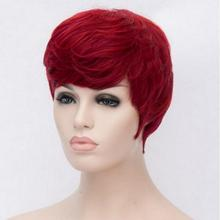 HOT!! 2017 Natural Women Short Wigs Straight Pixie Cut Red Wig Heat Resistant Synthetic African American Short Red Wigs