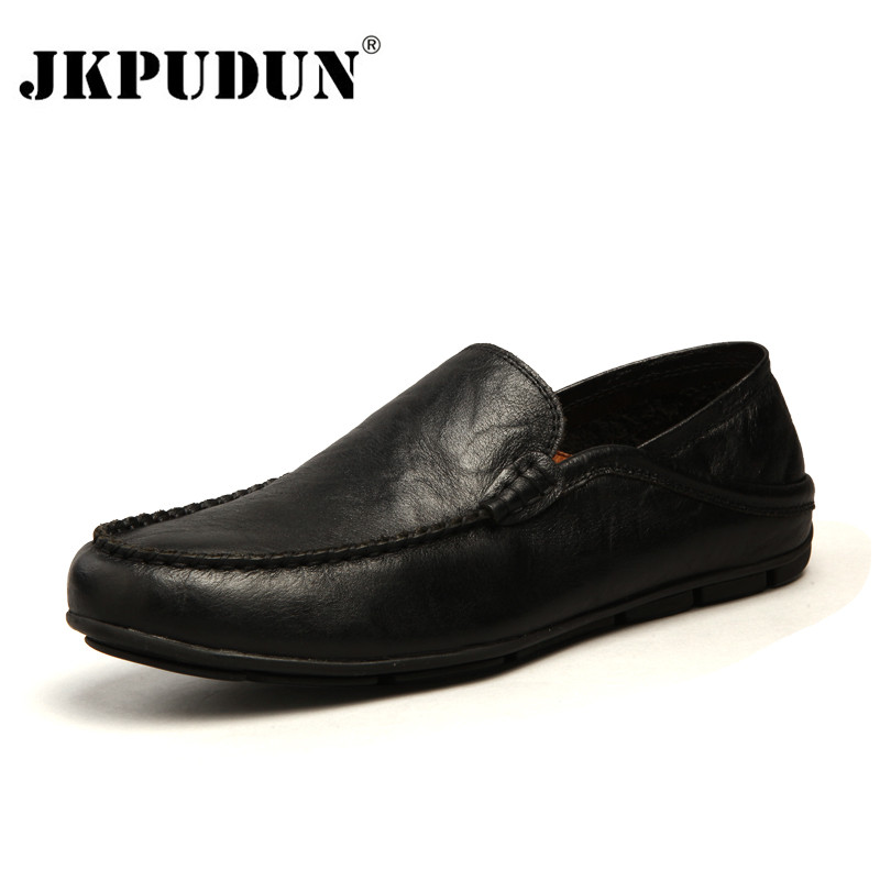 JKPUDUN Leather Men Casual Shoes Luxury Brand 2019 Mens Loafers Moccasins Breathable Slip On Black Driving Shoes Plus Size 37-47