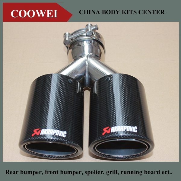 1PCS DUAL AKRAPOVIC Exhaust Tip Glossy carbon fiber tail tip exhaust pipe tail quad exhaust muffler tip