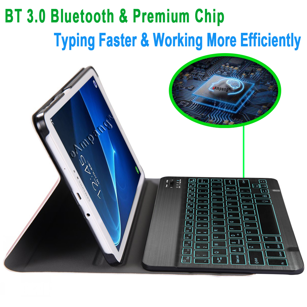 Image 3 - Case for Samsung Galaxy Tab A A6 10.1 2016 Keyboard Case T580 T585 SM T580 SM T585 Cover 7Color Backlit Bluetooth Keyboard FundaTablets & e-Books Case   -