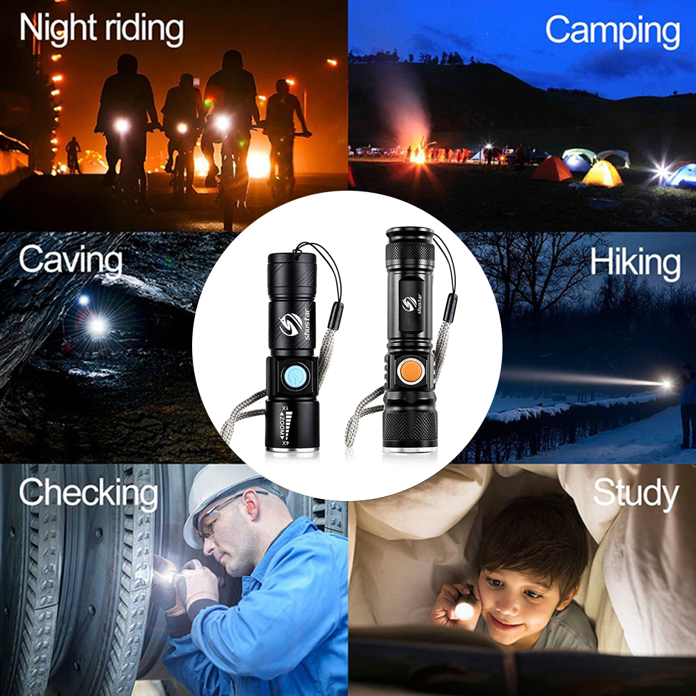 Купить с кэшбэком Powerful LED Flashlight With Tail USB Charging Head Zoomable waterproof Torch Portable light 3 Lighting modes Built-in battery