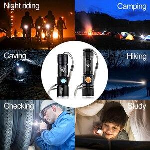 Image 5 - Mạnh Mẽ Đèn LED Với Đuôi Sạc USB Đầu Phóng To Đèn Pin Chống Nước Di Động Ánh Sáng 3 Chế Độ Chiếu Sáng Được Xây Dựng Trong Pin