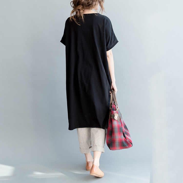 Весна-лето 2019; Повседневная Длинная короткая рубашка с круглым вырезом; большие размеры; Женская Удобная футболка с цветочным принтом