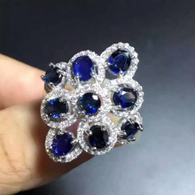 Natural blue sapphire gem  Ring Natural gemstone ring 925 sterling silver trendy Luxury round circle  women girl gift Jewelry