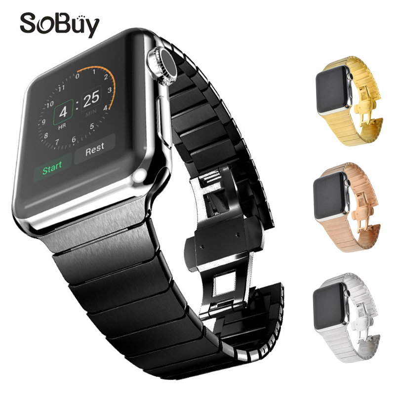 So buy Link Bracelet 316L Stainless Steel band for apple watch 42mm Wristband 38mm iwatch strap i watch series 1/2/3 metal belt