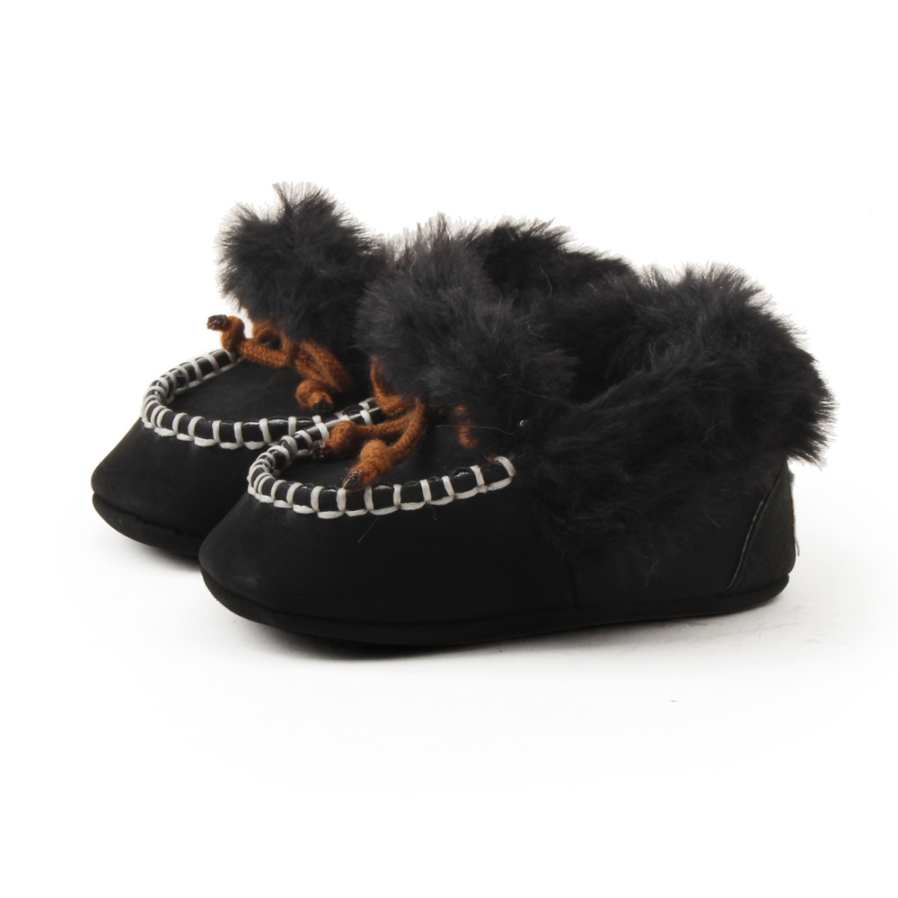 Delebao Fluffy Winter Baby Boots Warm Newborn Lace-up Toddler Cotton Boots Fashion Abrasive Cloth Baby Shoes Wholesale