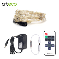 DC12V LED Fairy Lights String Copper Wire 10M Remote Control 1A Adapter Christmas Light String Holiday