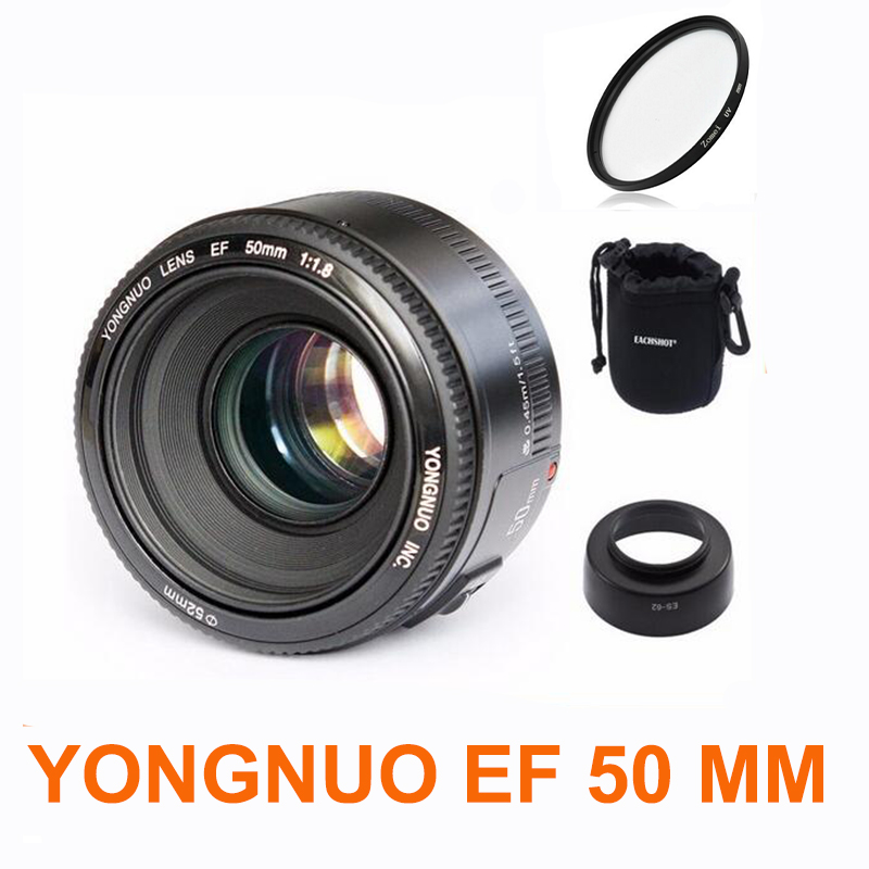 YONGNUO YN50mm f1 8 YN 50mm AF Lens YN50 Auto Focus lens hood UV len bag