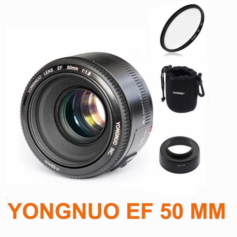 YONGNUO YN50mm f1.8 YN 50mm lente AF YN50 enfoque automático + hood + UV len + bolsa para cámaras Canon EOS DSLR