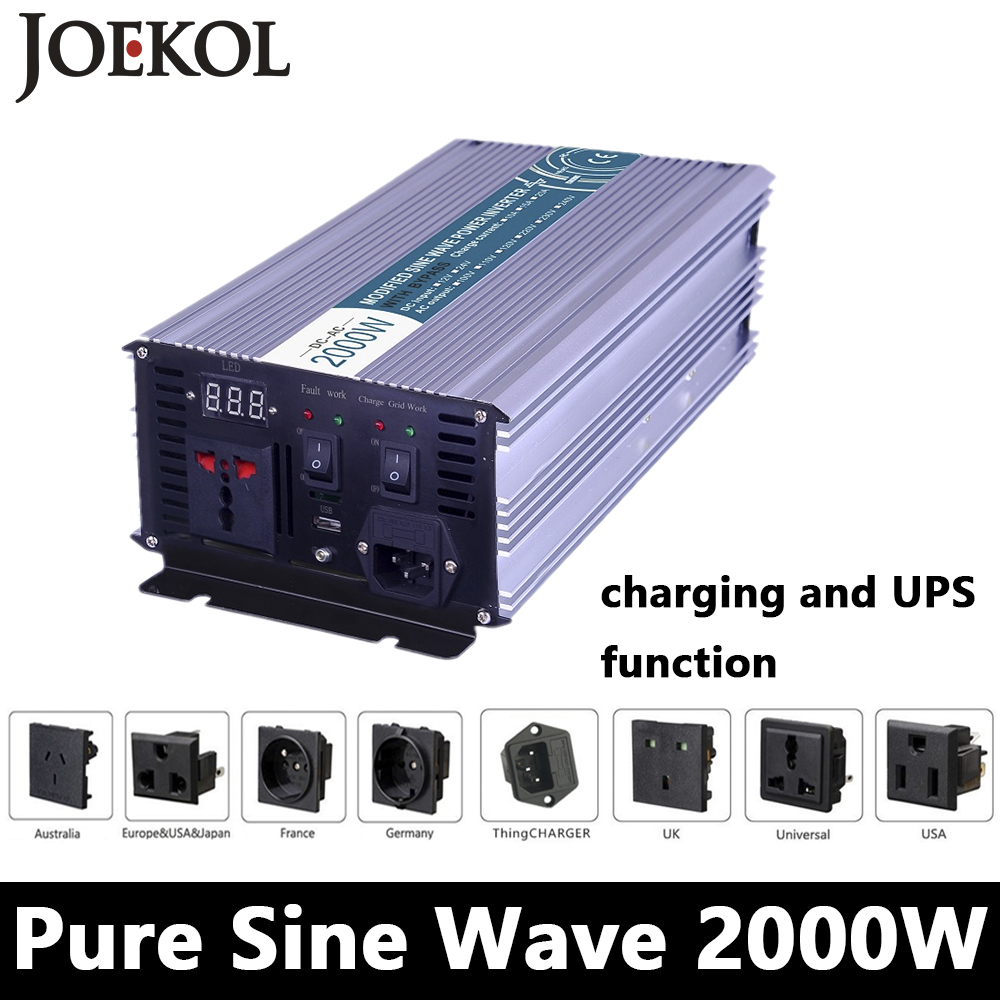 цена на Full Power 2000W Pure Sine Wave Inverter,DC 12V/24V/48V To AC110V/220V,off Grid Solar Inverter With Battery Charger And UPS