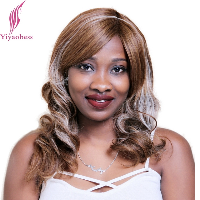 Yiyaobess 45cm Synthetic African American Curly Wigs Light Blonde