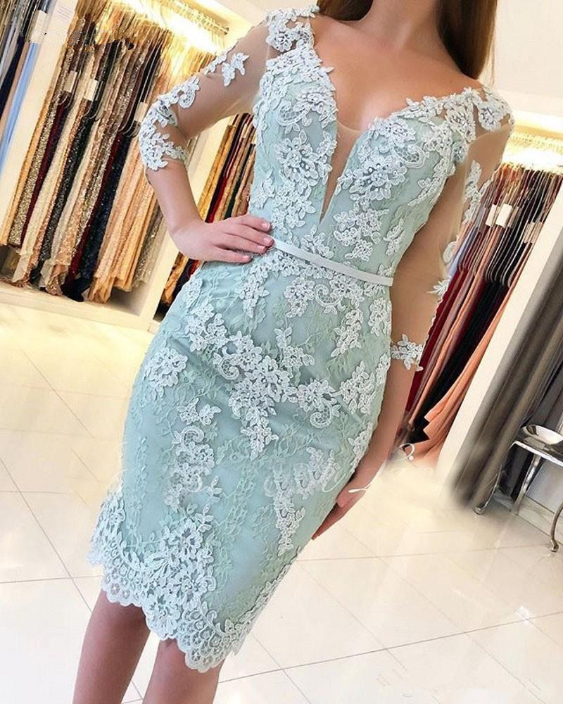 Mint Green 2019   Cocktail     Dresses   Sheath 3/4 Sleeves Lace Beaded Knee Length Elegant Party Homecoming   Dresses