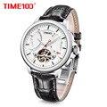 TIME100 Esqueleto Mens Relógios Relógio Relógio Mecânico Automático Homens de Negócios À Prova D' Água Relógio de Pulso Esporte Pulseira de Couro Resistente