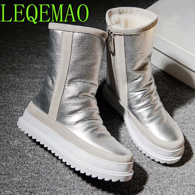 Winter new pure wool warm snow boots genuine leather women boots 100% cowhide warm womens shoes