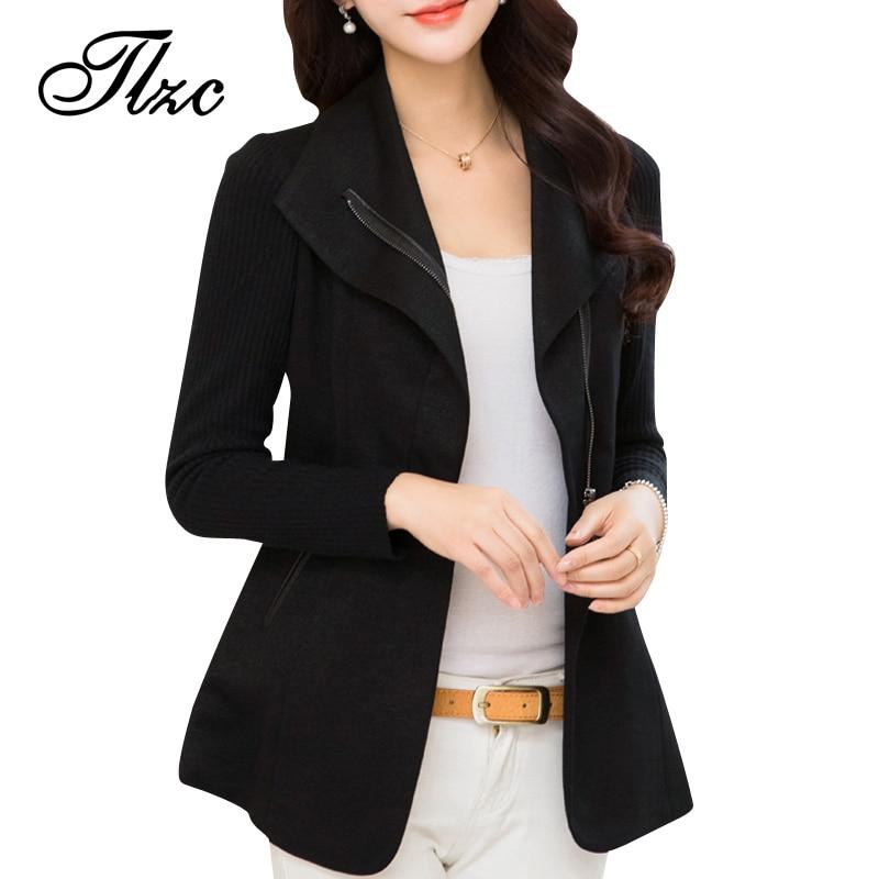 TLZC Hot Sale Office Lady Fashion Jacket Plus Size M-4XL Cotton Material Brand New Women Suit Blazer Zipper Design