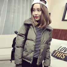 d87ef101395a Frauen Herbst Winter Oberbekleidung Mantel Koreanische Stil Lämmer Kragen Unten  Baumwolle Gefütterte Jacken Kurzen Casual Warme