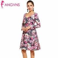 ANGVNS Lady Elegant Dress 2017 Spring Winter Fashion Vintage Women Deep V Neck Casual High Waist