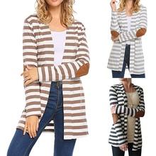 Autumn Sexy Cardigan Women Long Sleeve Striped Print Knitted Sweater Cardigan Casual Patchwork Female Jumper Coat Plus Size 5XL bear print buttoned knitted cardigan