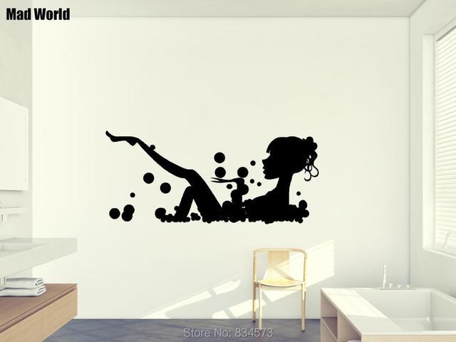Mad wereld meisje in bubbelbad silhouet muur art stickers muurtattoo