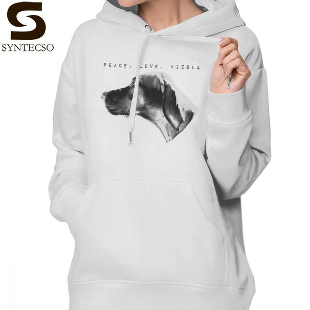 Vizsla Hoodie Peace Love Vizsla Hoodies Oversized Long-sleeve Hoodies Women Blue Cotton Printed Sexy Streetwear Pullover Hoodie