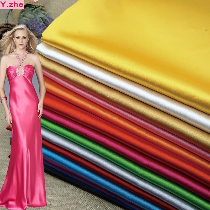 Широки 150x1m Добра висока плътност на опъната сатенен плат Charmeuse тъкан 25 цвят имитира копринени сатен плат DIY Cheongsam рокля  t