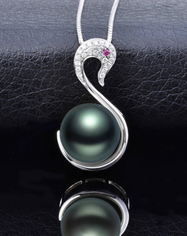 Collier en argent naturel avec pendentif en perles de tahiti vert paon 18 pouces
