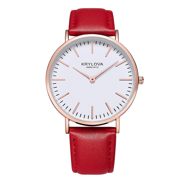 KRYLOVA Style Leather Quartz Women Watch Top Brand Men Watches Fashion Casual Sp