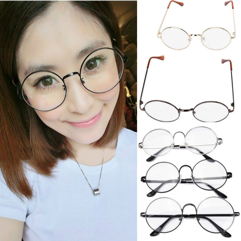 ca7a186af95b 1Pc Women round oval eyeglasses glasses frames high grade light weight  solid color Spectacles plain glasses