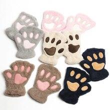 2018 Winter Gloves Women Animal Paw Gloves Fingerless Fluffy