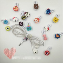 30pcs/lot Cartoon USB Cable Earphone Protector headphones line saver and cable winder cord holder data protection