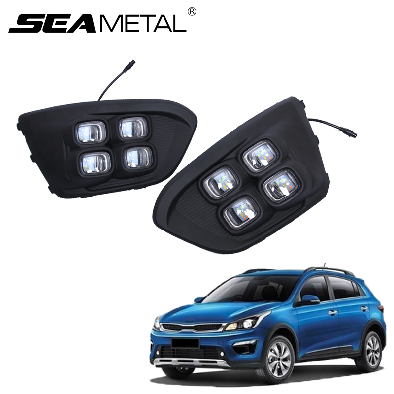 Car Light LED Day Lamp For Russia KIA RIO X-Line 2018 Highlight Auto Driving Daytime Running Lights Car-styling DRL Accessories 2pcs car accessories led lights drl daytime running light auto lamp for bmw x6 e71 2008 2012 cars day running light