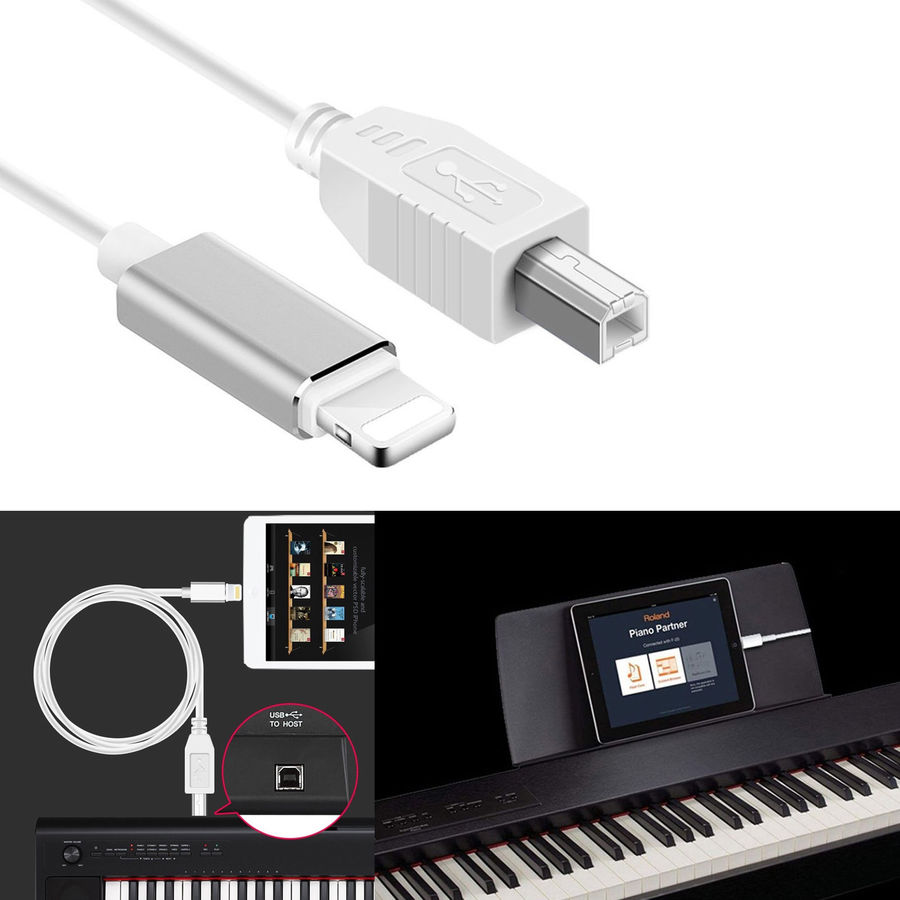 For L To Type-B MIDI Keyboard Converter USB 2.0 Cable For IPhone IPad X IPad