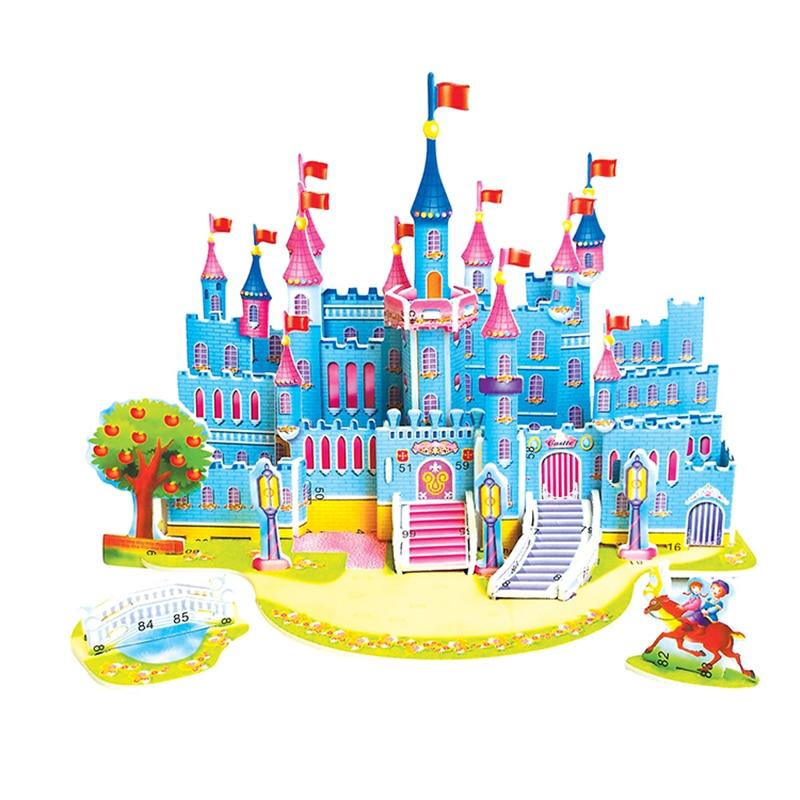 3D Puzzle Diy Games And Puzzles Model Building Safe Foam Castle Horse Princess Prince Cartoon Toys For Children
