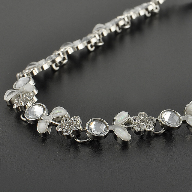 Silver Plated Floral Headband with Crystals