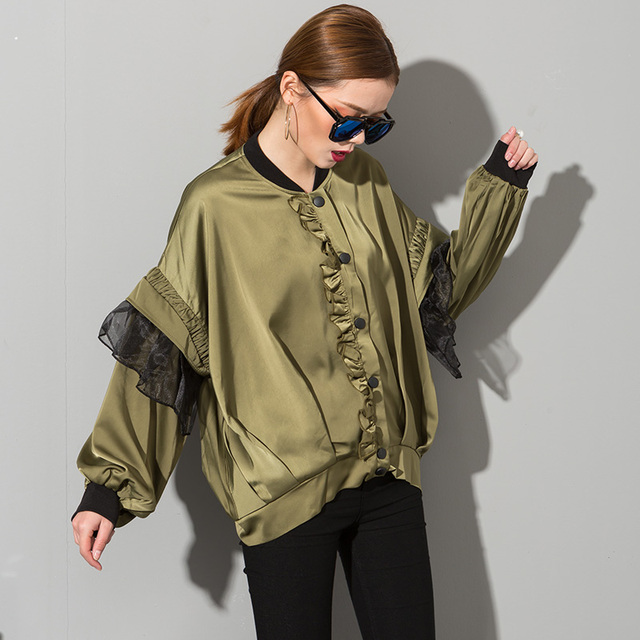 [soonyour] 2017 The new listing organza Dutch side taste lantern sleeve loose plus size thin coat female wholesale AS20026