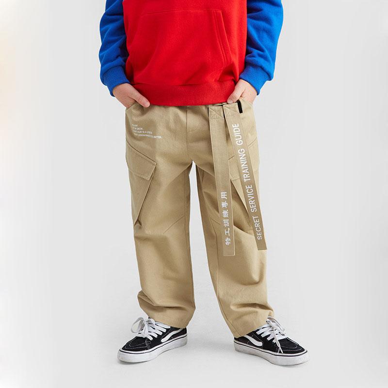 Ouyang&Ivan Autumn Kid Loose Pants Straight Boy Girl Cargo Pants Student Overalls Printed Ribbon Children's Casual Pants